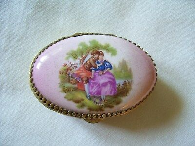 Vintage Enamel Oval Pill Box With Victorian Design
