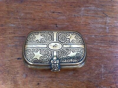 LOVELY SMALL DECORATIVE  ANTIQUE BRASS BOX 2.7 by 1.7 inches