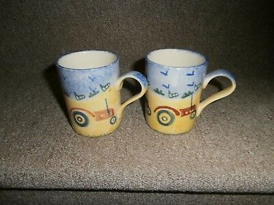 2 X Price And Kensington Handpainted Country Farm Mugs (Tractor)