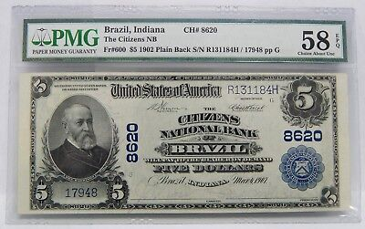 PMG Choice AU 58 EPQ 1902 $5 BRAZIL INDIANA National Currency Note 7055