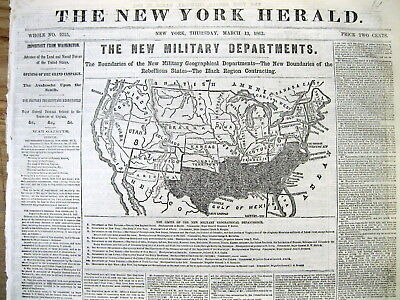 Displayable 1862 Civil War newspaper w large MAP - CONFEDERATE STATES of AMERICA