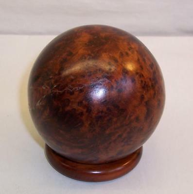 Vintage ART DECO Solid BURR/BURL WOOD Globe BALL Desk Top ORNAMENT/FEATURE