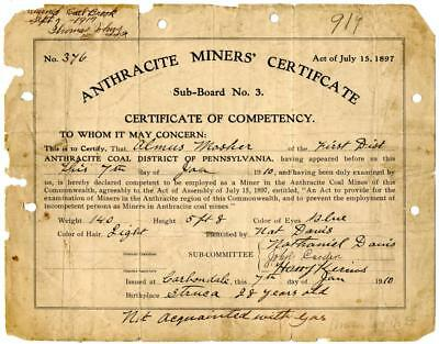 1910 Anthracite Coal Miner Certificate of Competency Carbondale Pennsylvania #9