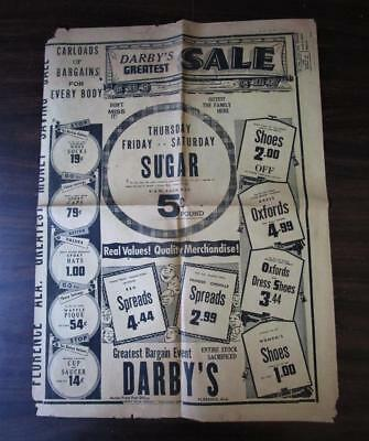 Vintage 1950's Sale Ad Newspaper Florence Ala. Darbys Department Store