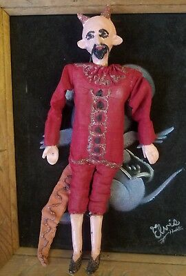 Rare Ocumicho? Mexican Folk Art Diablo Devil Puppet Mexico Ceramic & Cloth Doll