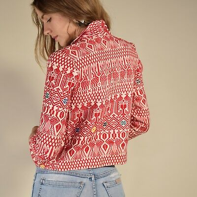 Vtg 50s red + white HAND WOVEN cotton cropped FIBER ART mexican jacket coat XS/S