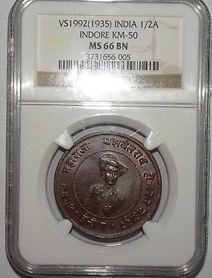 India Indore ½ Anna VS 1992 (1935) NGC MS 66 BN REGISTRY