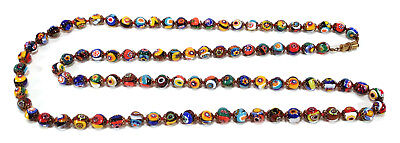 "Venetian Italian Murano Glass Multicolored Millefiori Beads Necklace 40.25"" Long"