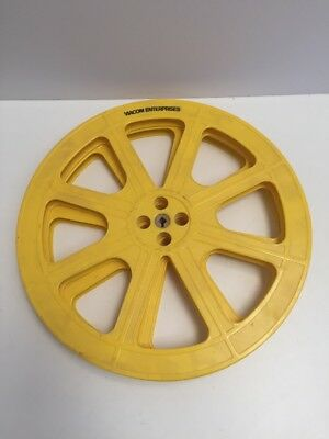 "Lot Of 2 Vintage Antique Viacom 16 mm 15"" 1600 ft. Yellow Plastic Film Reels"