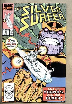 Silver Surfer #34-1990 vf/nm 9.0 Infinity Gauntlet Prelude - Rebirth of Thanos