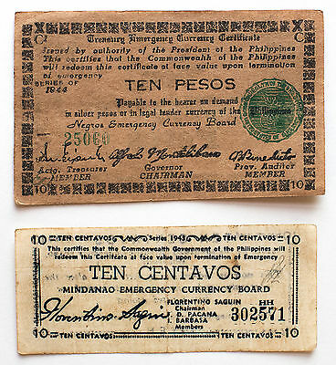 2 diff. Philippines WW2 guerrilla paper money  circ. Negros and Mindanao