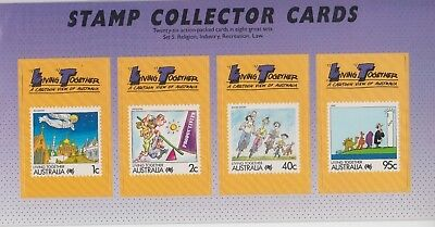 Stamps Australia living together No 5 set of 4 collector cards pack postmarked