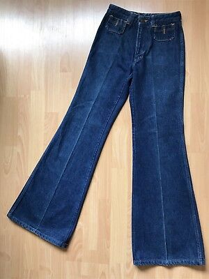 RARE! Vintage CHEMIN DE FER Jeans 70's Disco WIDE Bell Bottoms Size 29 Long/Tall