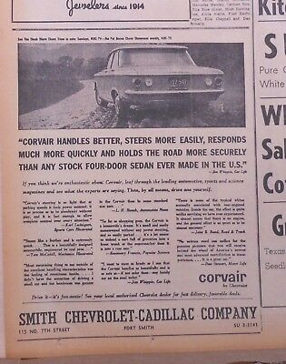 1960 newspaper ad for Chevrolet - Corvair handles better, steers more easily