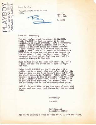 1954 PLAYBOY acceptance letter to CHARLES BEAUMONT sent to FORREST J ACKERMAN.