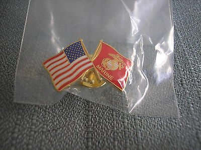 U.s Flag And United States Marine Corps Flag Lapel Pin