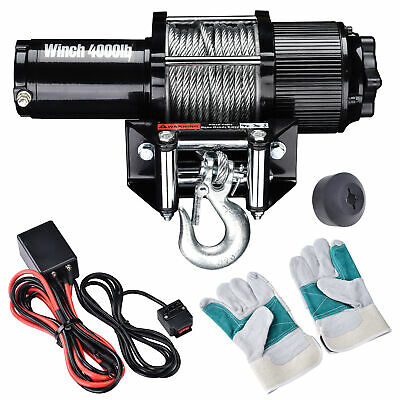 4000lb Electric Recovery Winch ATV Trailer Truck Towing 12V w/ Line Stopper