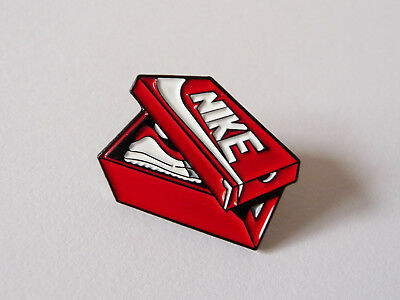 Retro Nike sneakerbox metal pin badge; enamel clasp back; 80's style trainers