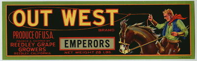 OUT WEST Vintage CA Grape Crate Label, Cowboy, Western, Roper, AN ORIGINAL LABEL