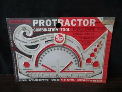 Vtg 1965 NOS Sterling 544 Protractor French Curve Triangles Ruler Circles Gauges