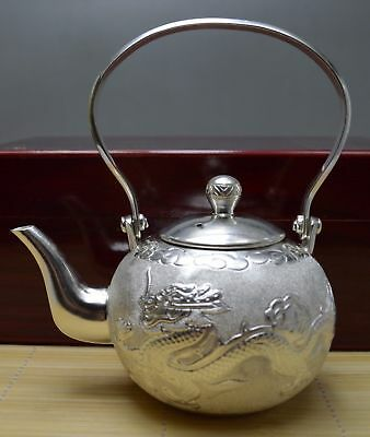 10.7 Oz Purity 990 Pure Silver Solid Hand Made Dragon Phoenix Tea Pot Signed