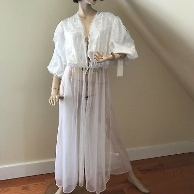 Vintage VAL MODE Sheer White Lace Lingerie Gown Peignoir ~ Large ~ Lovely