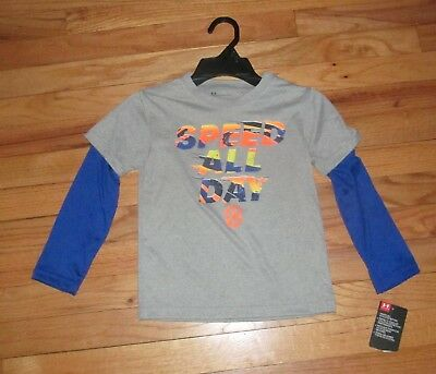 Under Armour Boys LS Gray Blue Speed All Day Shirt 4 NWT