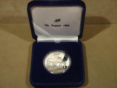 1990 Singapore Mint Year Of The Horse  1 Oz Fine Sterling Silver Proof Coin