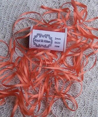 100% Silk Embroidery Ribbon 2Mm 25 Yard Spool~ Blazing/Orange~ Color