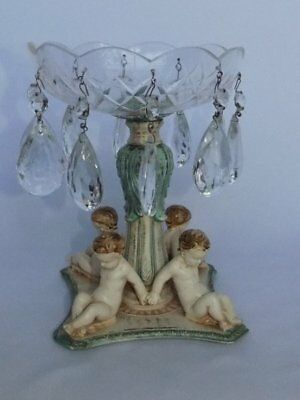 Antique Cast Metal Painted Enamel Cherubs Base Crystal Prisms Compote Dish
