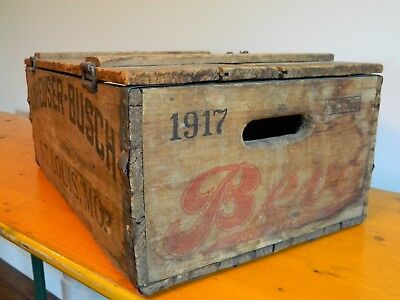 1917 Antique Bevo Renard Fox Anheuser Busch Wood Crate Pre Prohibition Near Beer