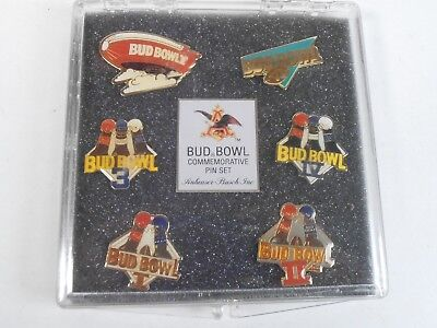 VINTAGE BUDWEISER BEER *FOOTBALL BUD BOWL* 6 METAL PIN LOT SET* w/CASE