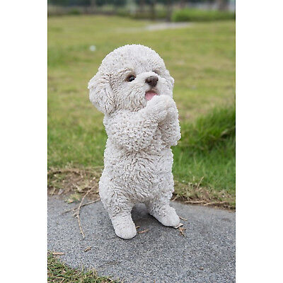 """Maltese Standing Dog Figurine White Dogs Statue Resin Pet Canine New 8.6 """" H"""