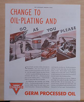 Vintage 1937 magazine ad for Conoco - Change to Oil Plating, Go As You Please