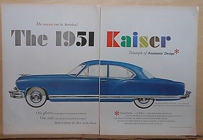 1950 two page magazine ad for Kaiser - blue DeLuxe 4-door Sedan, Anatomic Design