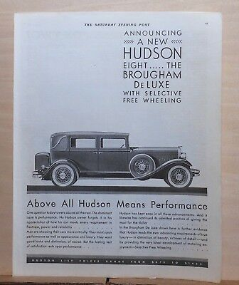 1931 magazine ad for Hudson - Brougham De Luxe with selective free wheeling