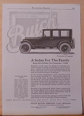 Vintage 1922 magazine ad for Buick - Buick Six Cylinder Sedan, For The Family