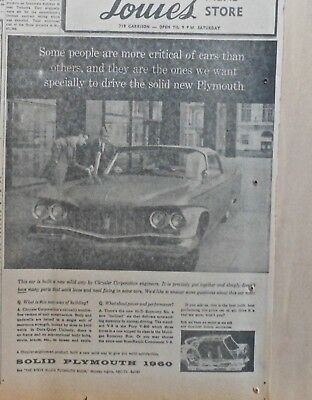 1959 newspaper ad for Plymouth - We want critical drivers, Dura-Quiet Uni-body