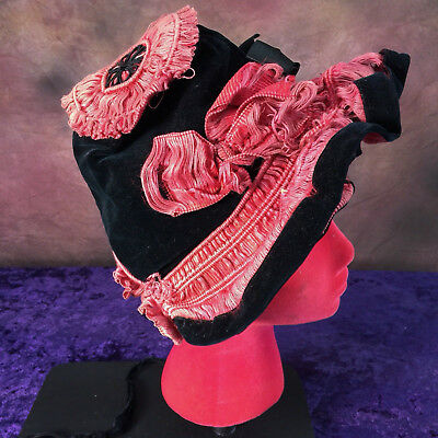Vintage 1860s Victorian Ladies Hat Antique Red Silk Black Velvet Study 1800s