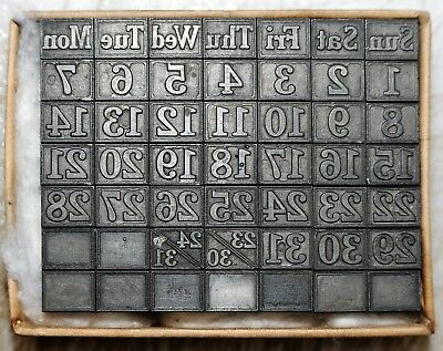 24pt Calendar. Metal  letterpress Type # ADANA EIGHT FIVE  8 x 5 user
