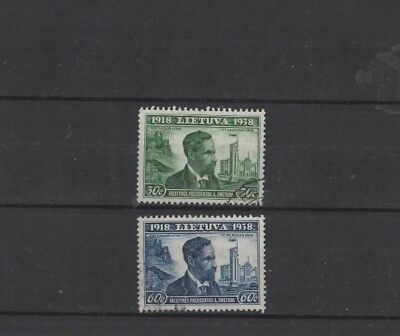 LITHUANIA , 1939, SG429 30c GREEN AND SG431 60c BLUE, MH