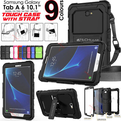 Samsung Galaxy Tab A 10.1 SM-T580 Tough Rugged Armour SHOULDER STRAP Case Cover