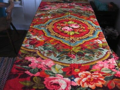 Antique Chenille Plush Tablecover - Roses