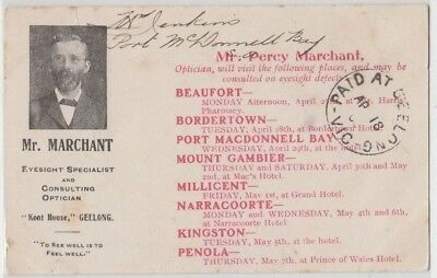 RARE postcard GEELONG Marchant & Son Optical consultants advertising & breakers