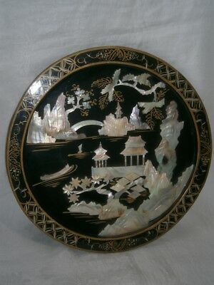 """14"""" Chinese Carved Mother Of Pearl & Lacquered Wood Picture Plaque Display Plate"""