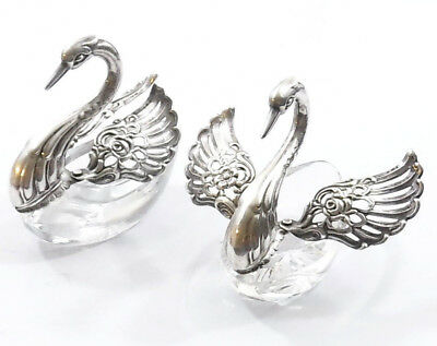 Stunning Pair of Sterling Silver Topped Salts in The Form of Swans : Wings Open