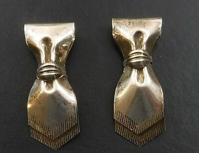 Art Deco Pair of Sterling Silver Dress Clips - Or Shoe Buckles Bow / Scarf Shape
