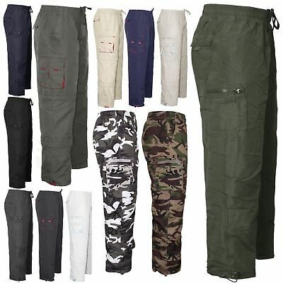 Mens Elasticated Waist Casual Rugby Trousers Cargo Combat Pants Bottoms M - XXXL