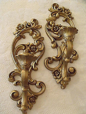 "Candle Wall Sconces Syroco Floral Gold Hollywood Regency Chic 5""x15"" Vtg Pr 4418"