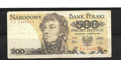 POLAND #145d 1982 VG CIRCULATED OLD 500 ZLOTYCH CURRENCY BANKNOTE PAPER MONEY